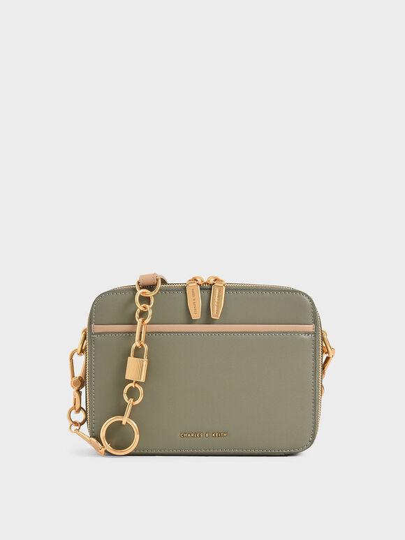 Double Zip Crossbody Bag, Sage Green, hi-res