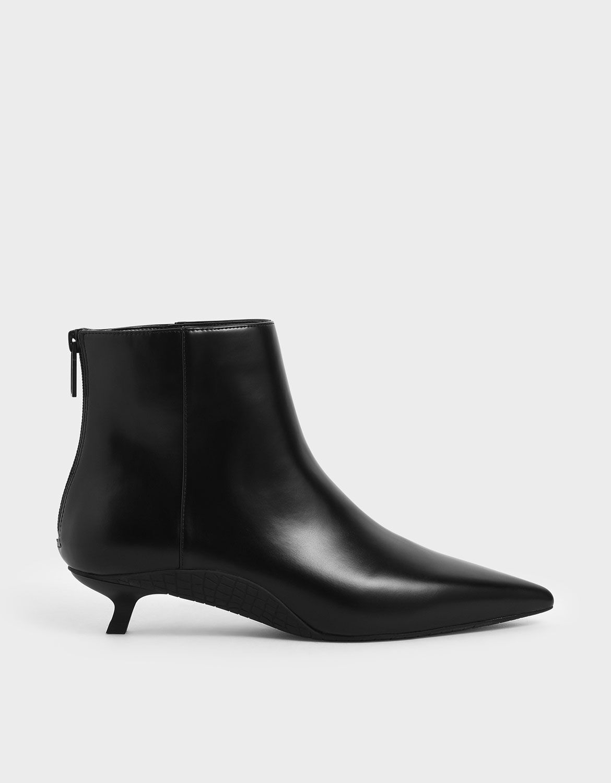 Black Kitten Heel Ankle Boots | CHARLES