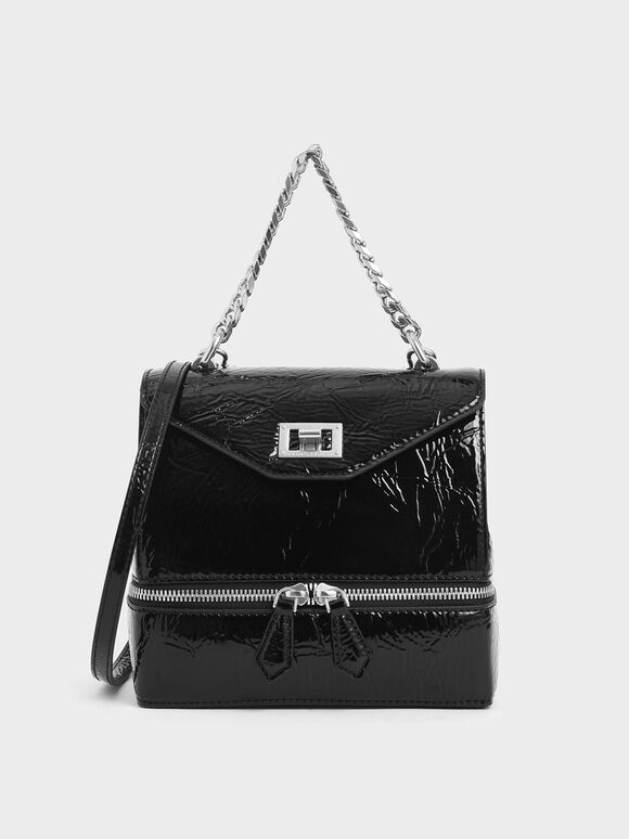 Wrinkled Patent Two-Way Zip Chain Handle Bag, Black, hi-res