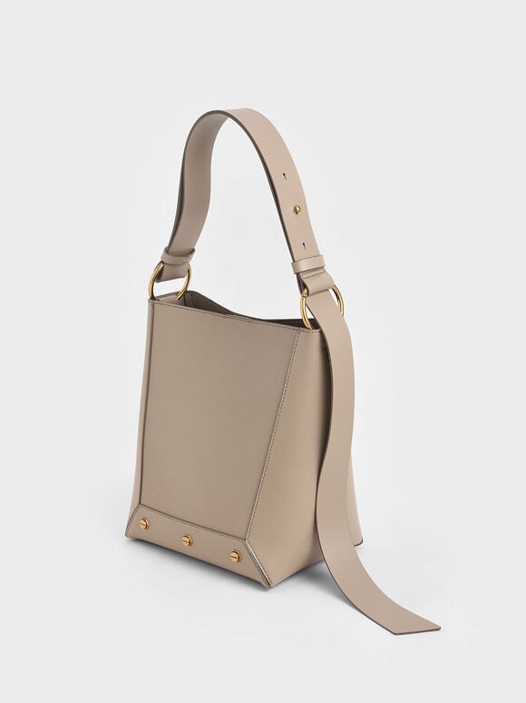 Studded Tote Bag, Taupe, hi-res