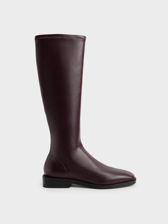 Knee High Flat Boots, Burgundy, hi-res