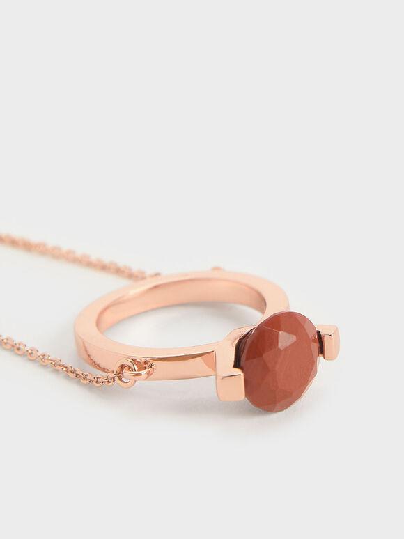 Red Jasper Stone Ring Bracelet, Rose Gold, hi-res
