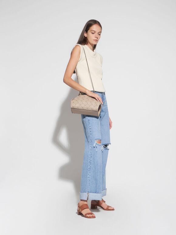 Woven Shoulder Bag, Taupe, hi-res