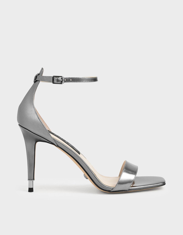 Silver Metallic Leather Stiletto Heels