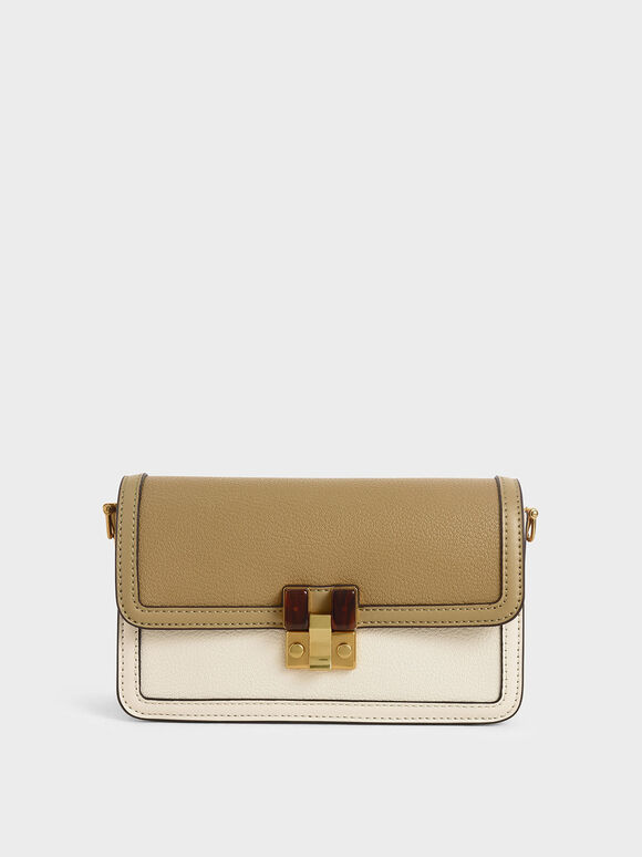 Stone-Embellished Clutch, Cream, hi-res