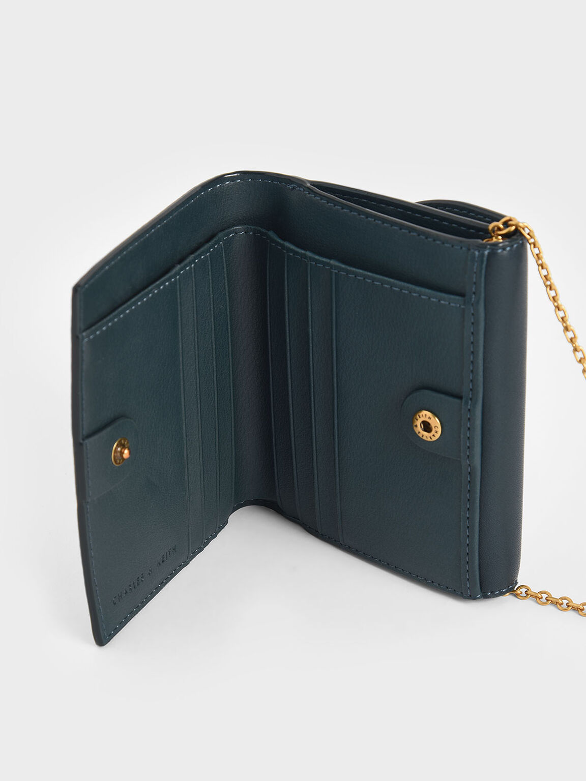 Ring Push-Lock Mini Wallet, Teal, hi-res