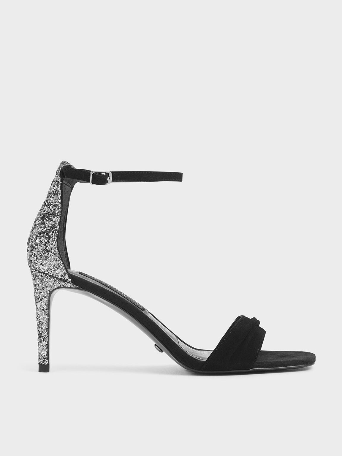 Glitter Stiletto Heel Sandals (Kid Suede), Black, hi-res