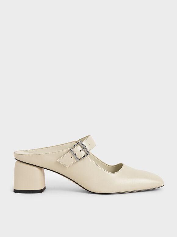 Mary Jane Block Heel Mules, Chalk, hi-res