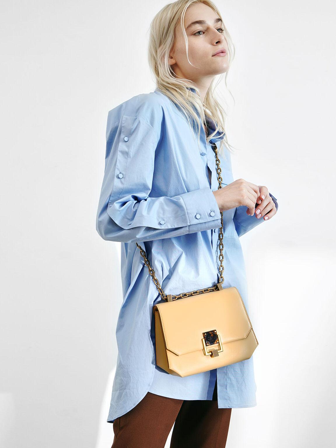 Chain Handle Geometric Crossbody Bag, Yellow, hi-res
