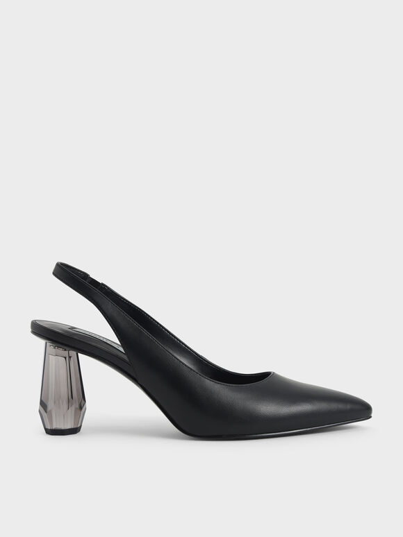 Sculptural Heel Slingback Court Shoes, Black, hi-res
