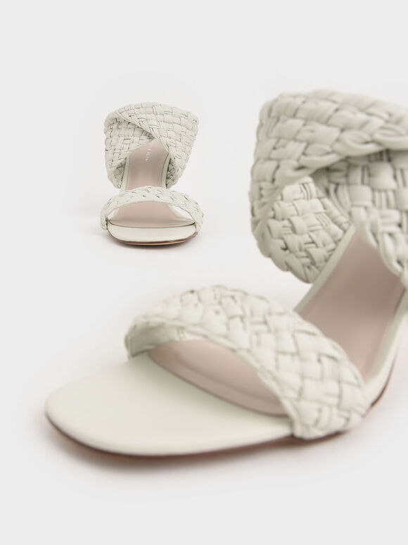 Double Strap Woven Heeled Mules, White, hi-res