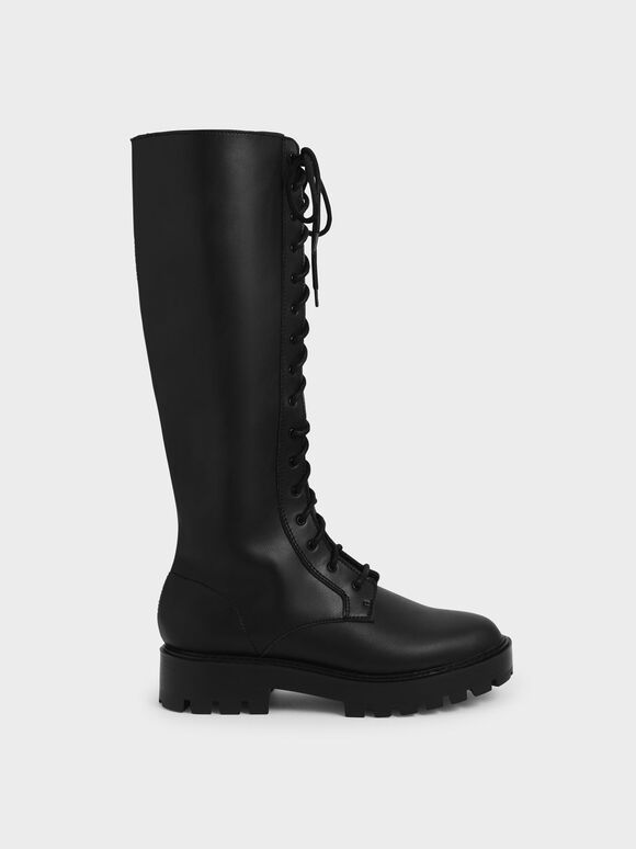 Lace-Up Knee-High Boots, Black, hi-res