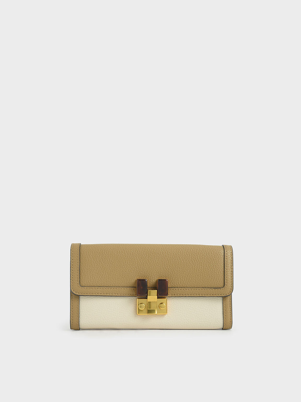 Stone-Embellished Mini Long Wallet, Cream, hi-res