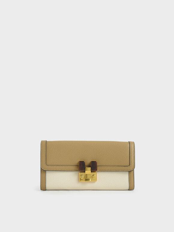 Stone-Embellished Mini Long Wallet, Cream, hi-res
