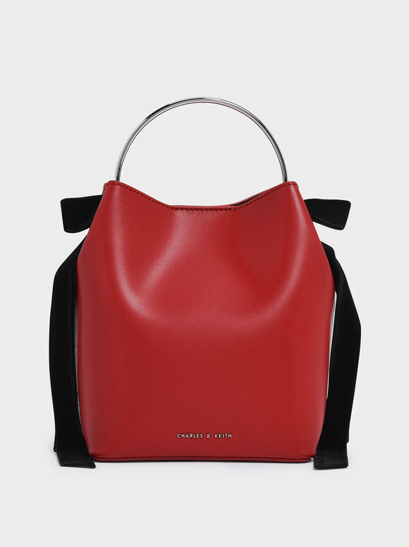 Velvet Bow Detail Bucket Bag, Red, hi-res