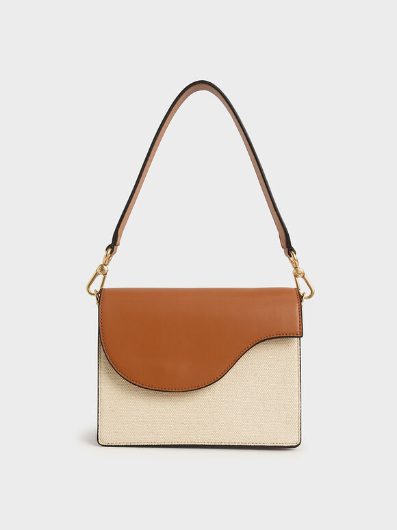 Two-Tone Angular Flap Shoulder Bag, Cognac, hi-res