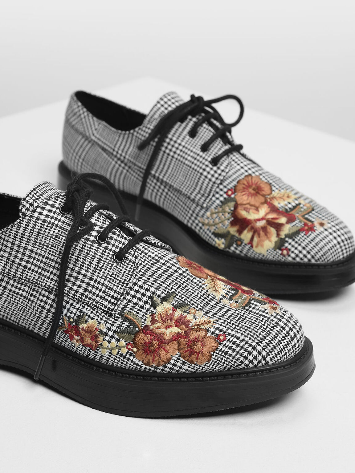 Floral Embroidery Derby Shoes, Multi, hi-res