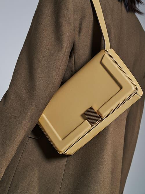 Elyse Turn-Lock Shoulder Bag, Sand