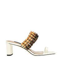 LEATHER BEADED HEELED SANDALS