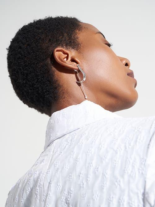 Geometric Pearl Drop Earrings, Silver