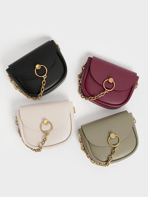 Chunky Chain-Link Saddle Bag, Ivory, Taupe & Black
