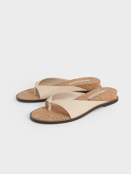 STITCH-TRIM THONG SANDALS