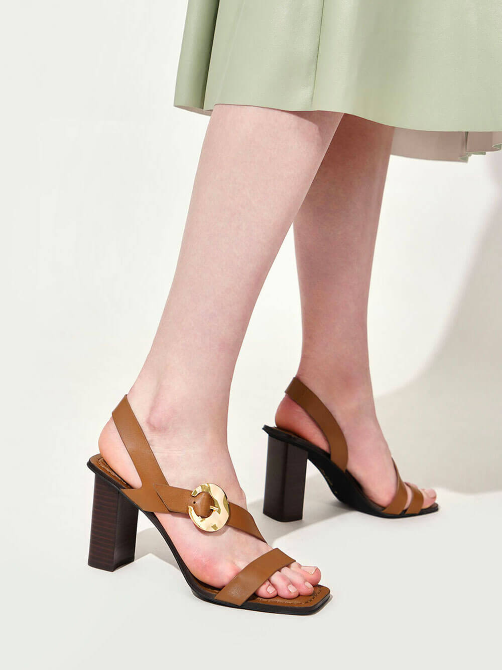 Leather Hammered Buckle Heeled Sandals