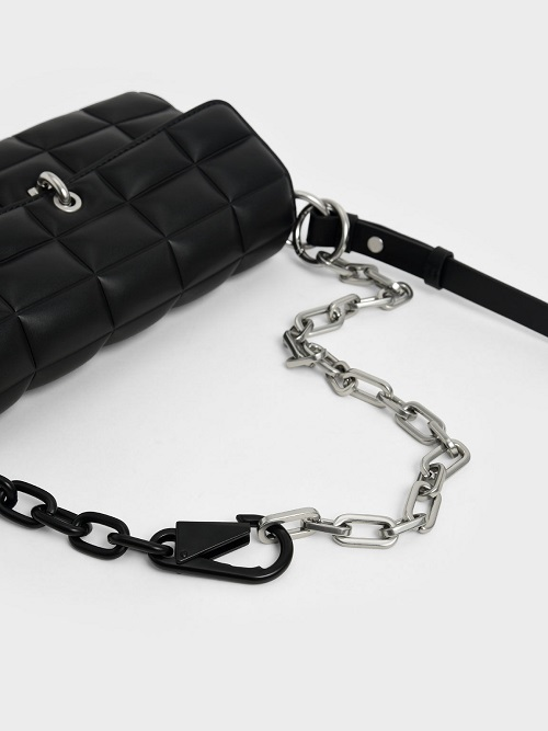 Chunky Chain Handle Quilted Shoulder Bag