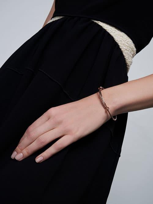 Twist Bangle Bracelet, Rose Gold