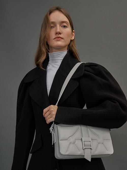 Quilted Shoulder Bag, Grey