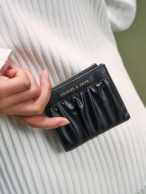 Ruched Short Wallet, Black