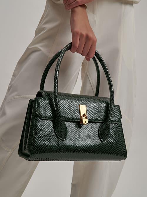 Snake Print Double Handle Push-Lock Bag, Dark Green
