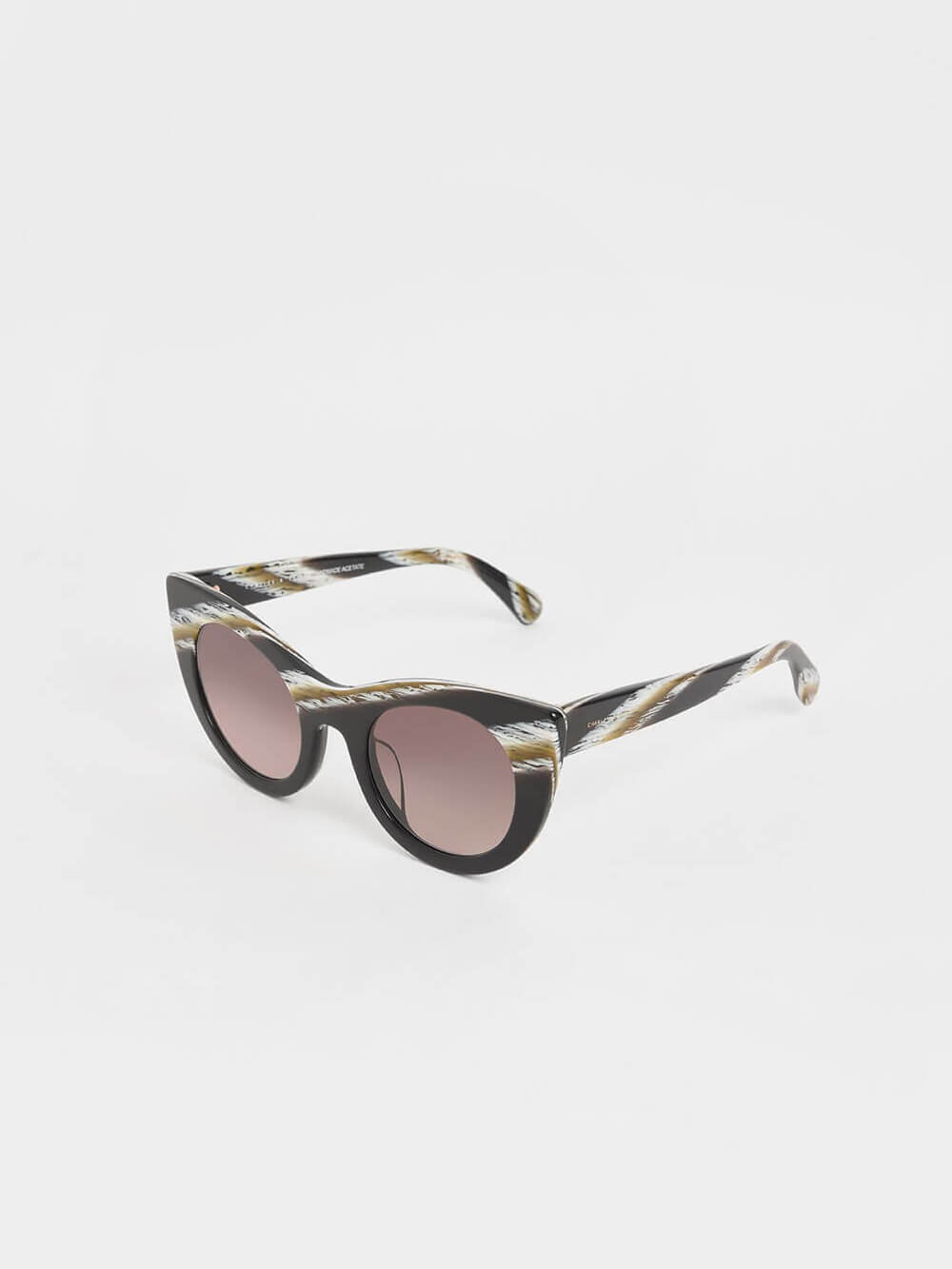 Striped Thick Frame Cat-Eye Sunglasses