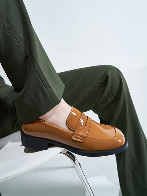 Patent Penny Loafers, Caramel
