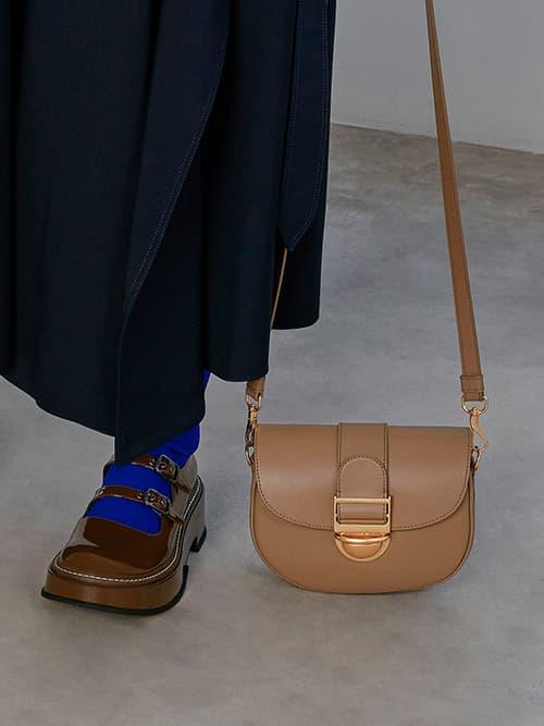 Amelia Metallic Push-Lock Crossbody Bag, Brown