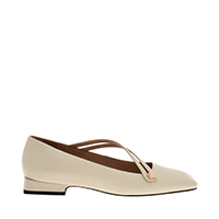 LEATHER ASYMMETRIC STRAP BALLERINA FLATS