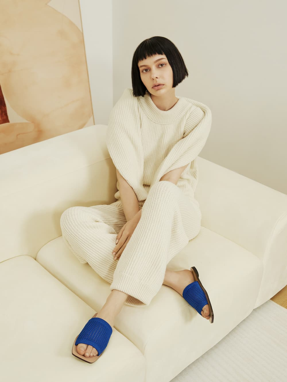 Women's knitted asymmetric slides in blue - CHARLES & KEITH