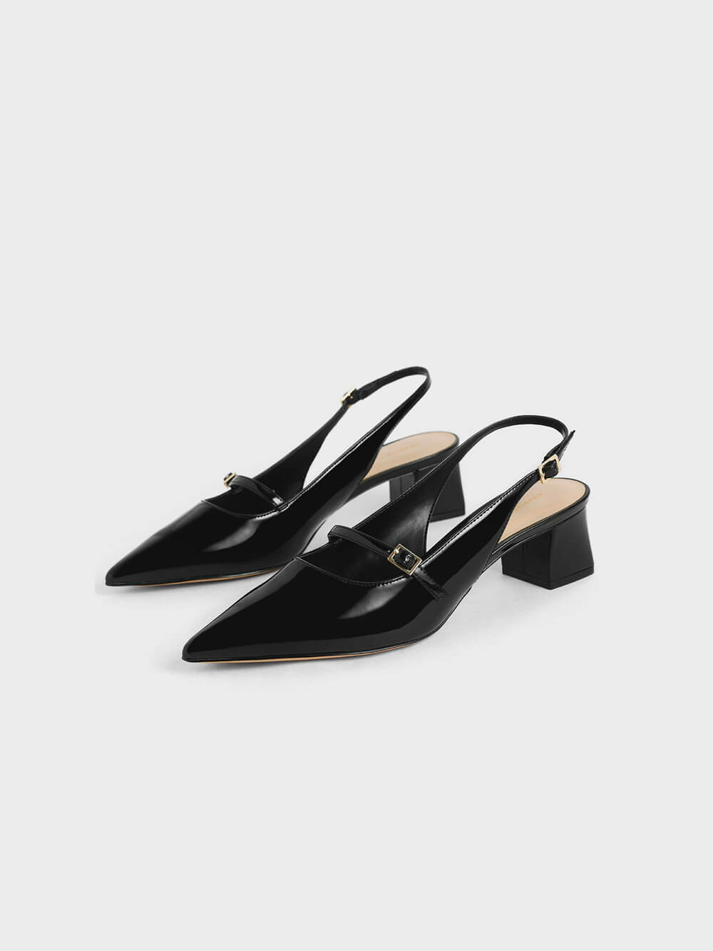 Patent Mary Jane Slingback Pumps