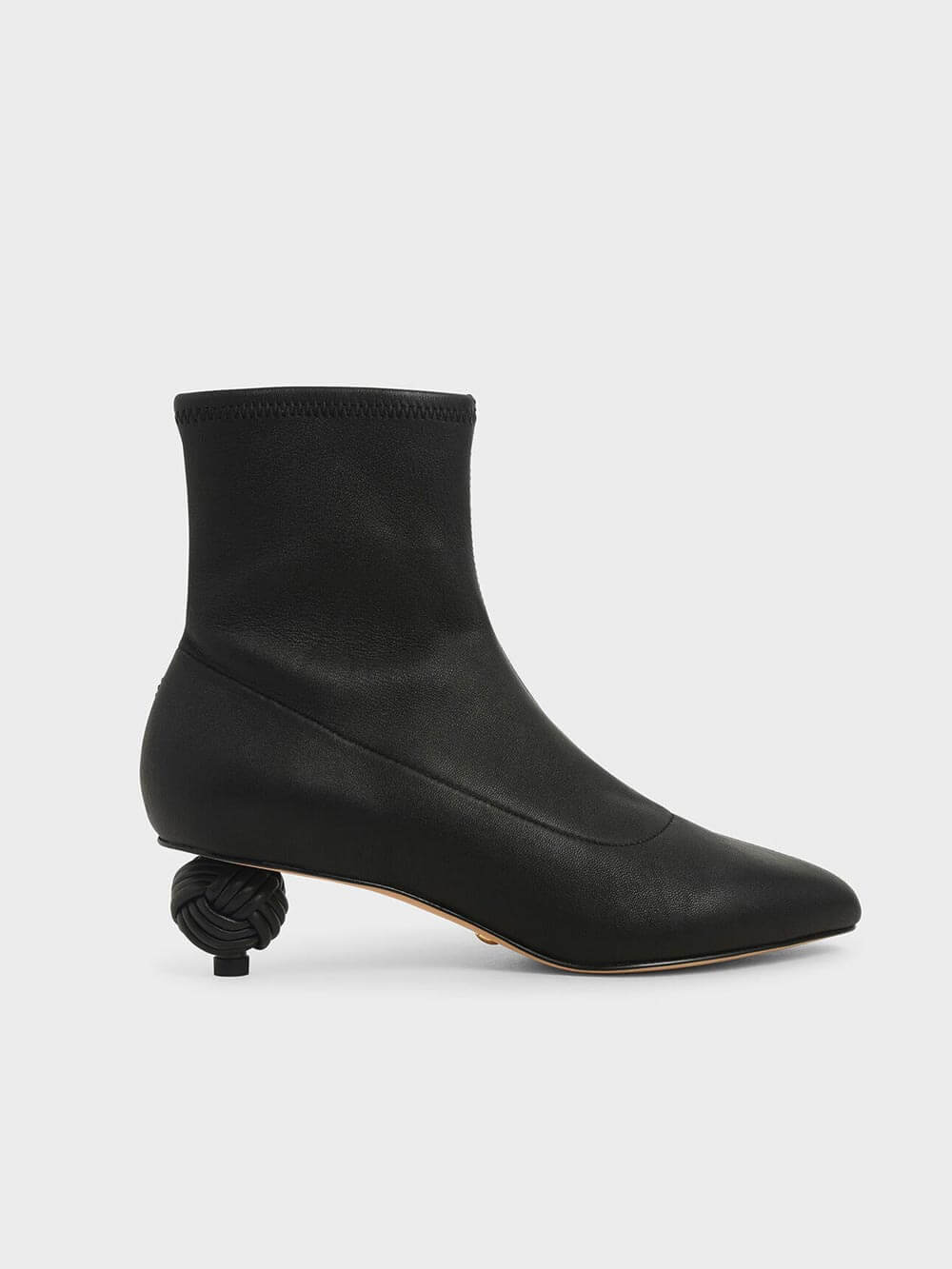 Leather Sculptural Heel Ankle Boots