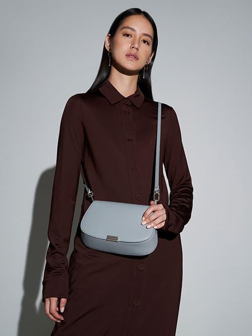 Metallic Accent Small Shoulder Bag