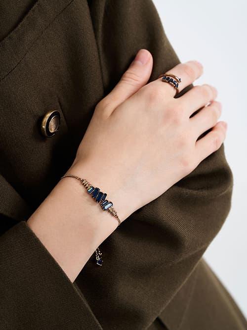 Swarovski® Crystal Embellished Chain Bracelet, Navy