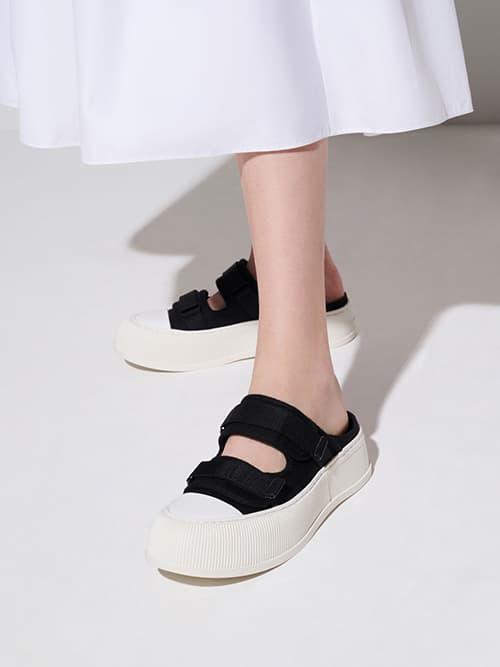 Canvas Velcro Sneaker Mules