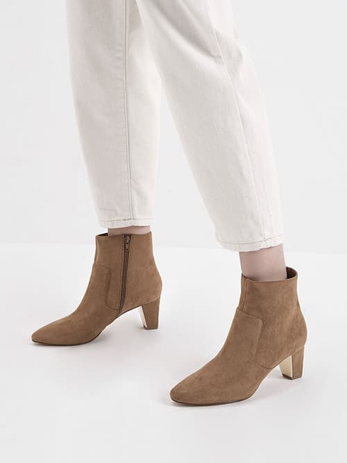 Textured Ankle Boots, Camel