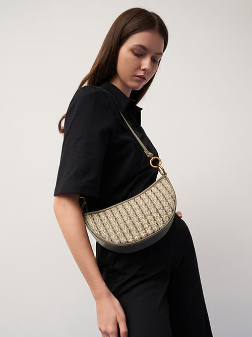 Tweed Crescent Crossbody Bag, Taupe