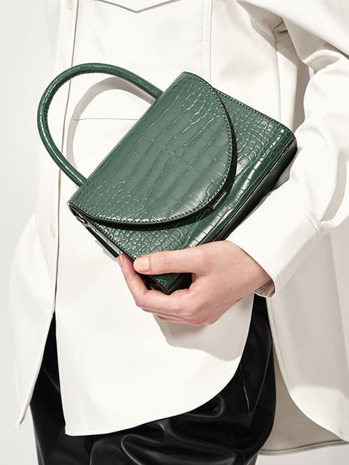 CROC-EFFECT TOP HANDLE BAG