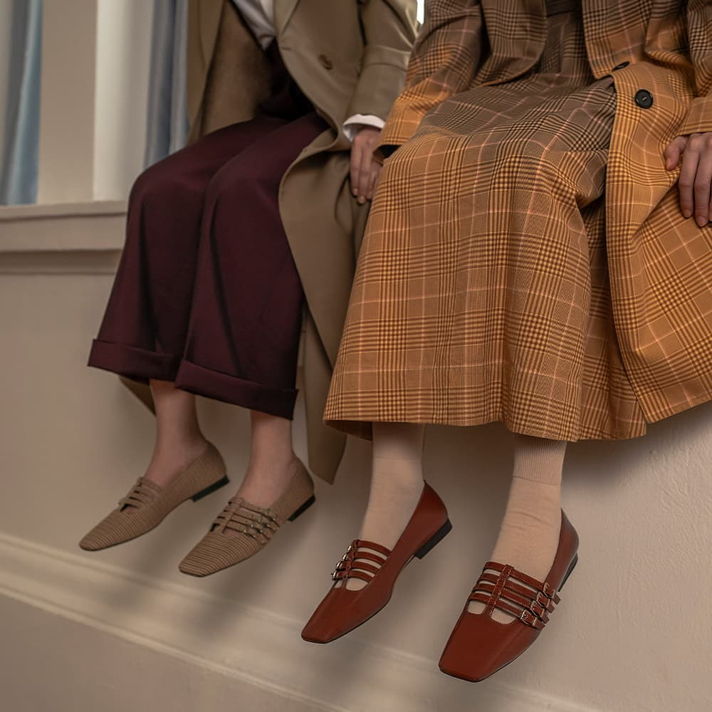 Women's buckled mary janes in cognac and multi - CHARLES & KEITH