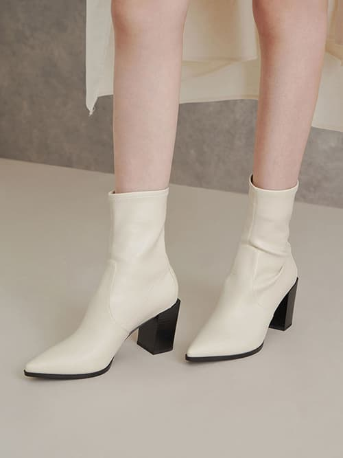 STACK HEEL ANKLE BOOTS