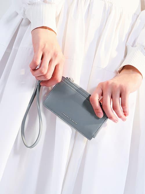Zip-Around Wristlet Card Holder, Steel Blue