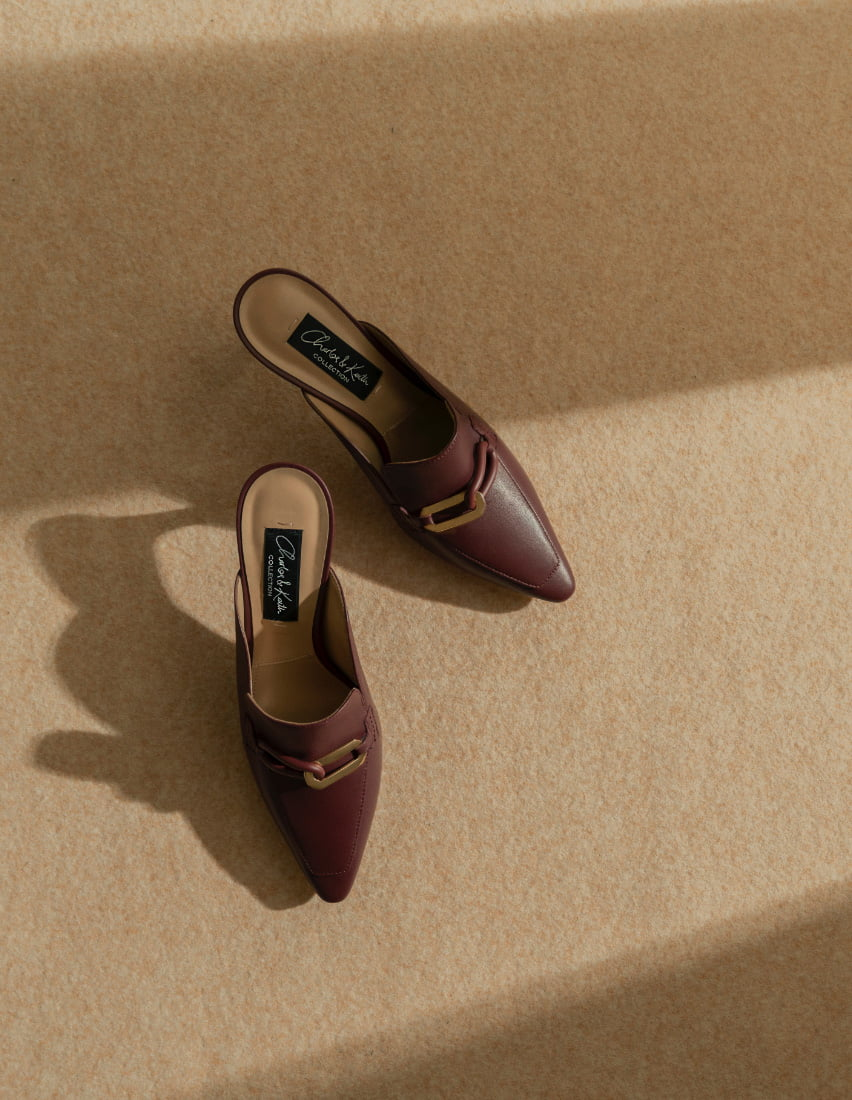 Women's embellished leather mules in burgundy – CHARLES & KEITH