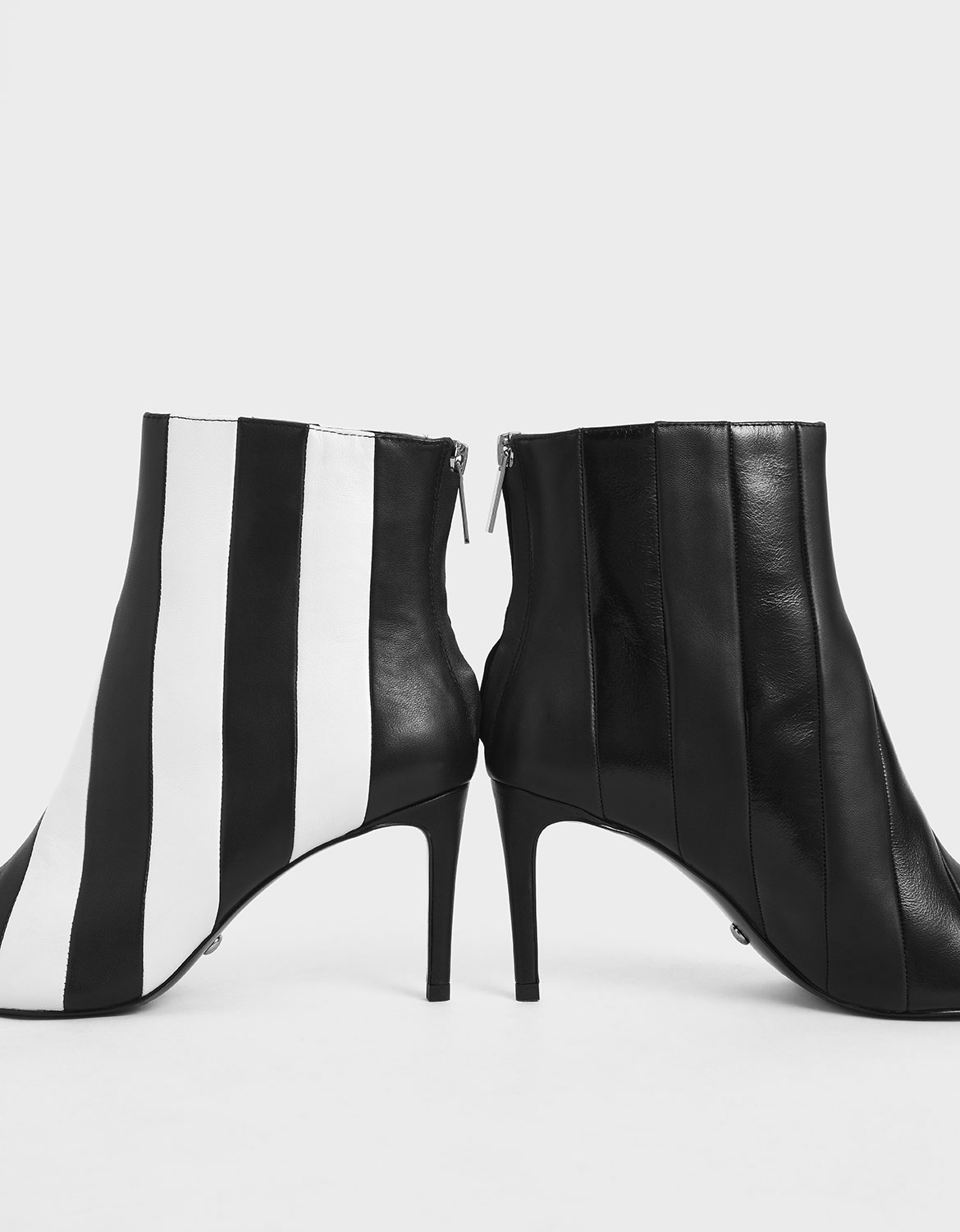 Leather Striped Ankle Boots